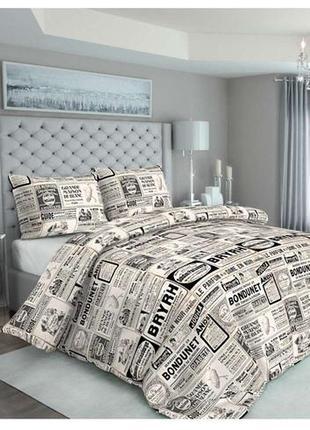 """Комплект плотного постельного белья, рисунок """"газетка"""""""