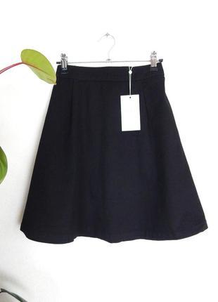 Трендовая хлопковая джинсовая скейтерская юбка в складку с высокой посадкой коттон