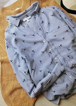 Стильная блузка в полоску с принтом птицы