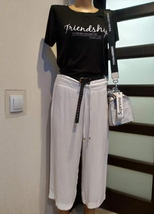 Тонкие лёгкие белые брюки штаны капри бриджи жатка
