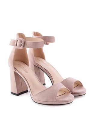 Розовые замшевые летние босоножки на толстом каблуке