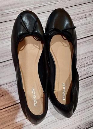 Стильные черные балетки с бантиком размер 38-39