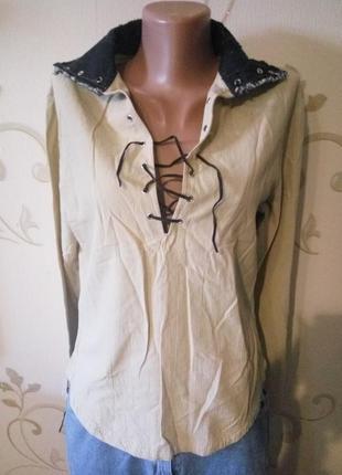 Стильная рубашка сорочка блузка . хлопок плечи 42