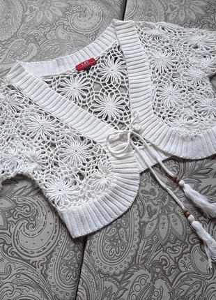 Ажурное болеро белая вязан кофта накидка цветы нарядн красив