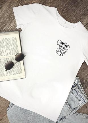 Женская футболка хлопок белая с принтом jerry джерри мышка mouse