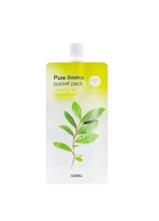 Ночная маска с экстрактом зеленого чая missha pure source pocket pack green tea 10 мл