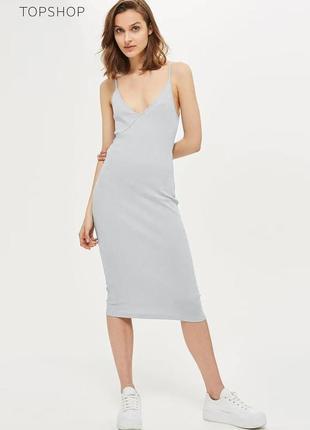 Новое серое миди платье topshop