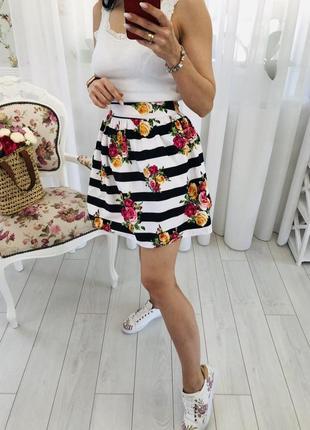 Актуальная хлопковая юбка в цветочный принт полоска