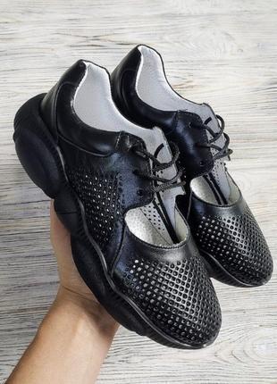 Черные кожаные кроссовки ted dream