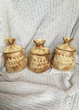 Набор для специй приправ мешочки из глины глиняные декоративные