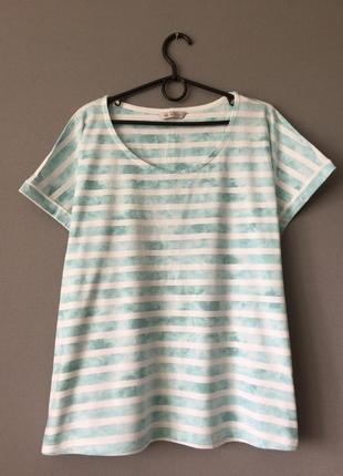 Хлопковая футболка в полоску marks&spenser 18--54 размер.