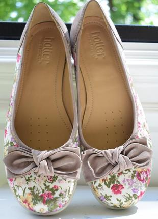 Кожаные туфли балетки лодочки мокасины хоттер hotter р.40 26,2 см