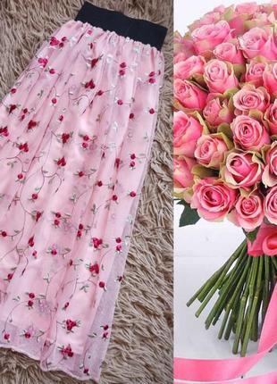 Розова міді спідниця