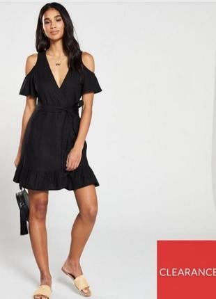 Черное льняное платье на запах от by very