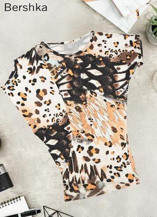Вискозная леопардовая удлиненная футболка туника bershka
