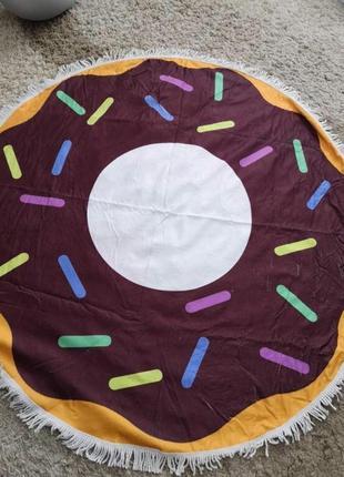 Пляжное круглое покрывало подстилка пончик