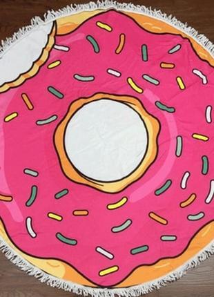 Пляжное круглое покрывало подстилка пончик розовый