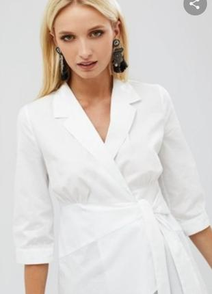 Белая рубашка на запах от warehouse