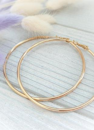 Серьги кольца 6 см большие позолота мед сплавxuping