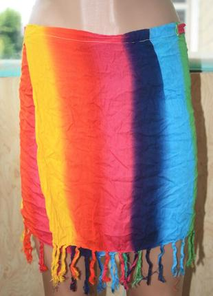 Яркая пляжная юбка на запах в бохо этно хиппи стиле парео