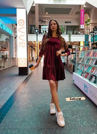 Платье велюровое цвет бордо