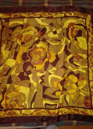 Шелкоаый эффектный платок с тиснение рисунка, италия