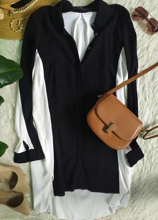 Контрасное чёрно-белое платье рубашка удлиненная накидка
