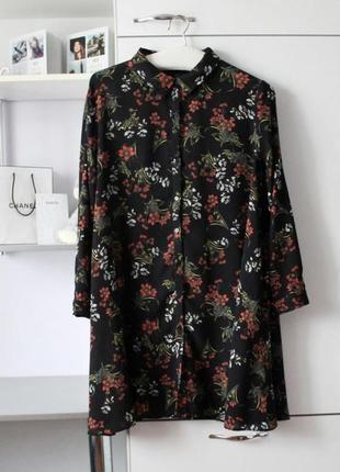 Очень нежное платье рубашка в цветы zara
