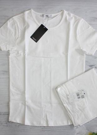 Базова біла котонова футболка mango розмір s та m