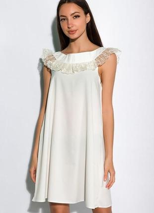 Новое нежнейшее легкое воздушное платье в бельевом стиле с рюшами из кружева