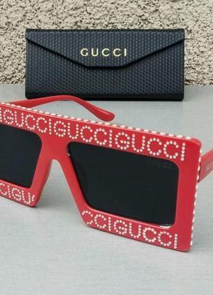 Gucci очки женские солнцезащитные большие красные со стразами