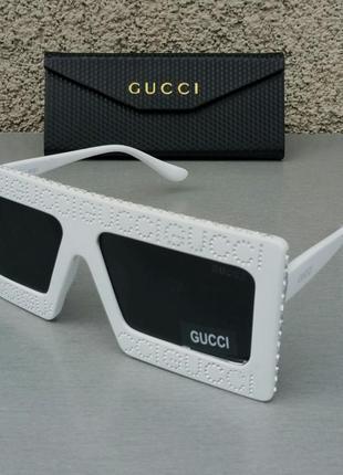 Gucci очки женские солнцезащитные большие белые со стразами