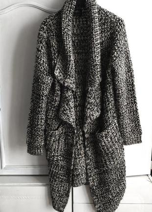 Крутой вязаный длинный пальто- кардиган bershka размер m-l