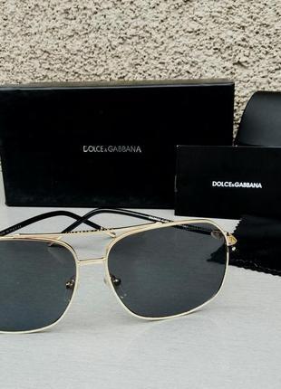 Dolce & gabbana очки мужские солнцезащитные черные в золотой металлической оправе