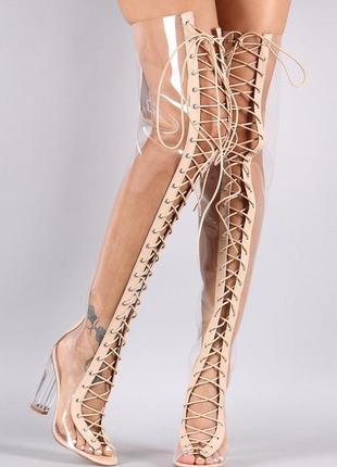 Прозрачные ботфорты из пвх на шнуровке прозрачном каблуке пол денс