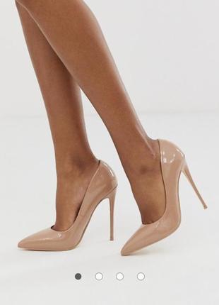 Бежевые лакированные туфли-лодочки на каблуке-шпильке asos zara mango shoes!