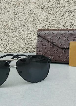 Gucci очки капли мужские солнцезащитные черные поляризированые
