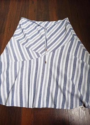 Натуральная юбка в косую полосу