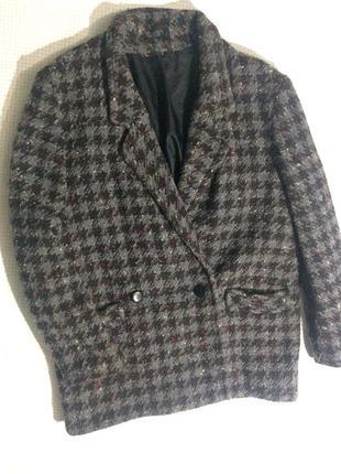 Шерстяне пальто бойфренд в клытинку marks&spencer