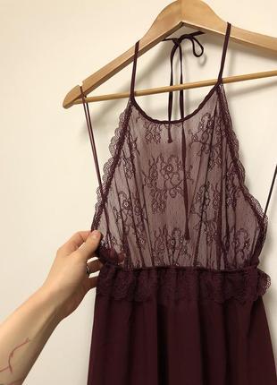 Красива нічна сорочка / платье пеньюар марсала