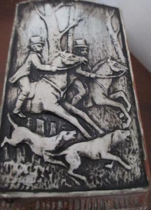 Графин охота. пробка серебро 800. лошади. собаки. h-26 см. 0,8 л.