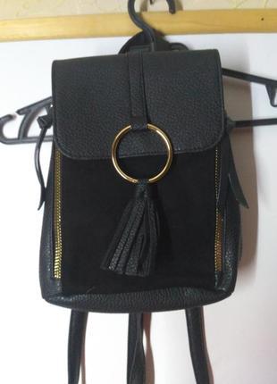 Рюкзак мини маленький черный с кольцом