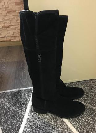 Сапоги натуральные замша низкий каблук
