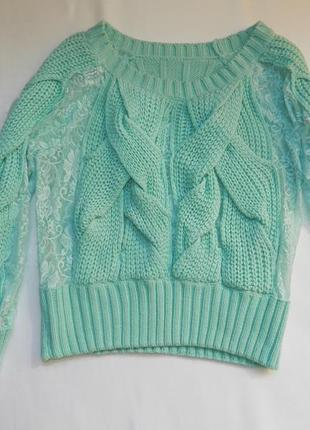 ✅✅бирюзовый свитерок с гипюром