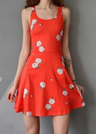 Яркий летний сарафан платье в цветы 32-34 xxs h&m