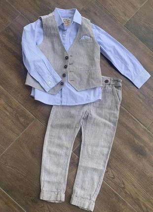 Нарядный костюм тройка next 3-4-5лет льон