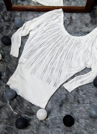 Блуза топ покроя летучая мышь фактурной вязки jane norman