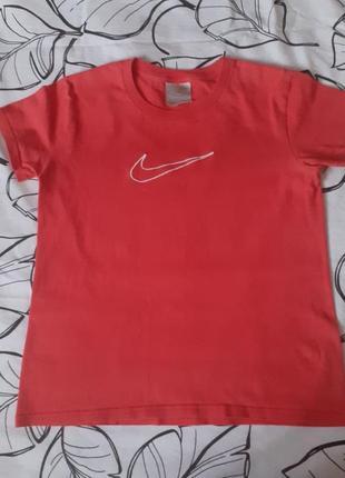 Винтажная хлопковая футболка nike найк с вышитым логотипом
