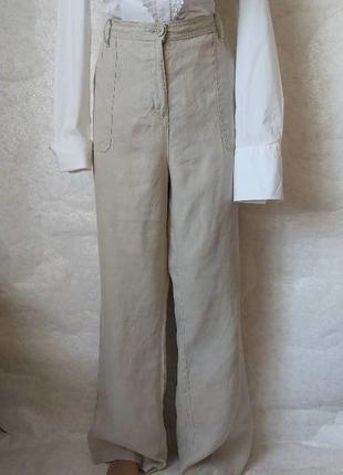 Фирменные marks & spencer брюки/штаны со 100% льна в цвете беж, размер 3хл