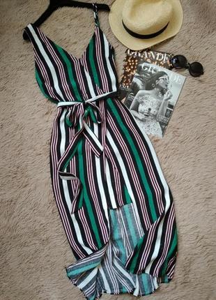 Шикарное полосатое платье на запах с поясом/сарафан